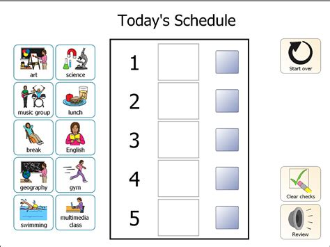 visual schedule template task list templates