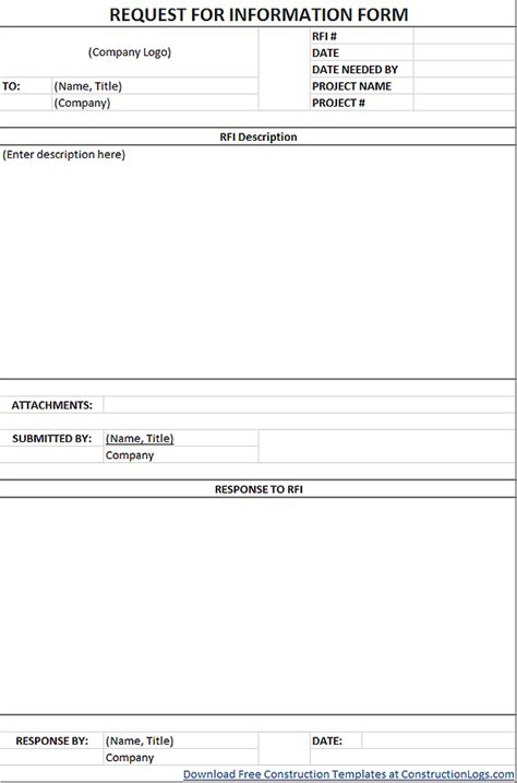 request  information rfi form template excel