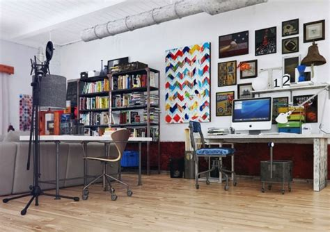 Colorful And Funky Interiors Visualized by Shared Work Area 600x424 Jpg