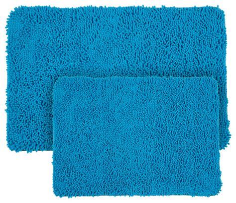Blue Bathroom Mat Set 2 Shag Memory Foam Bath Mat Set Blue Contemporary