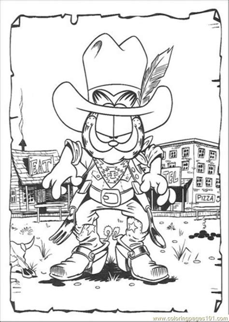 cowboy garfield coloring page  garfield coloring pages coloringpagescom