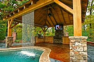 outdoor living mid state pools With backyard designs with pool and outdoor kitchen