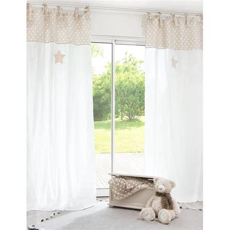 Vorhang Mit Schlaufen Zum Binden Aus Baumwolle Weißbeige