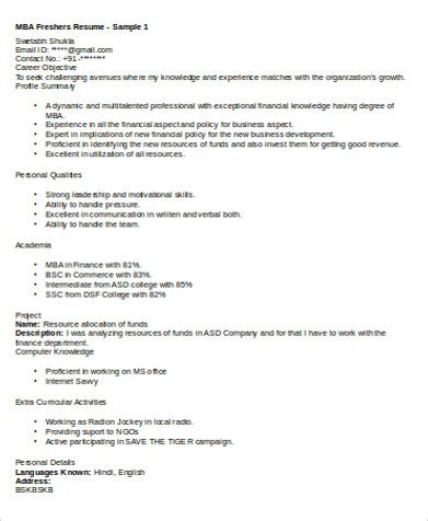 sample mba marketing resume  examples  word