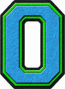 presentation alphabets light blue kelly green varsity With letter o light