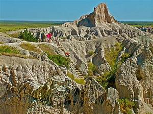 Climbing The Ladder On Notch Trail In Badlands National