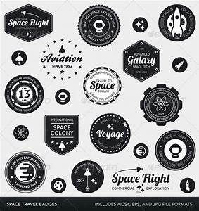 Space labels and badges by emberstudio | GraphicRiver