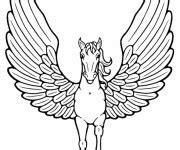 coloriage licorne ouvrant ses ailes dessin gratuit  imprimer