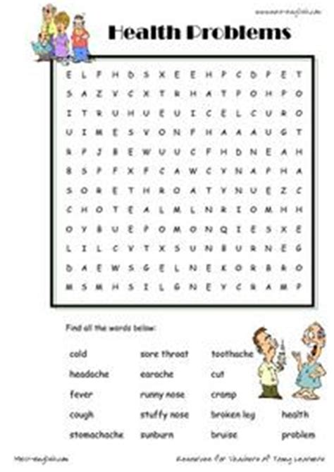 health problems word searches st  grade worksheet