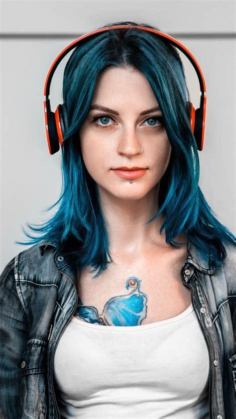 tattoo girl  headphones iphone wallpaper iphone