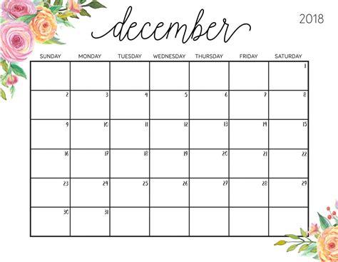 Free Calendar Template 2018 by December 2018 Calendar Calendar 2018