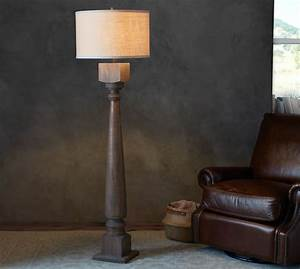 Finn turned wood floor lamp base pottery barn for Wood floor lamp pottery barn