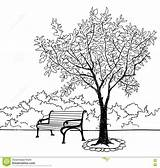 Bench Park Coloring Pages Garden Landscape Tree Sketch Template Nature sketch template