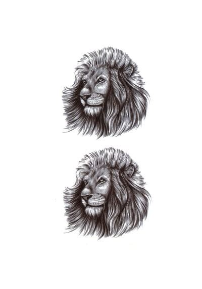tatouage ephemere temporaire tete de lion