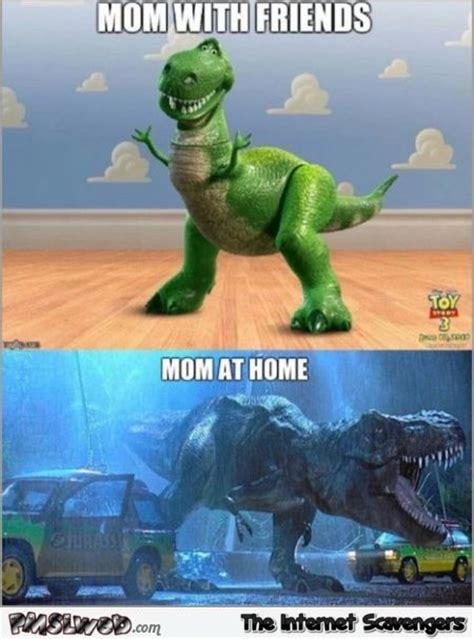 Meme T Rex - mum in public versus mum at home funny t rex meme pmslweb