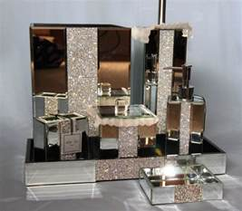 mirror rhinestone bathroom accessories soap tray wastebasket jar ebay