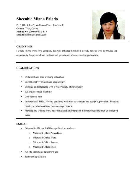 Objective For Information Technology Resume by Resume Sheenbie Palado