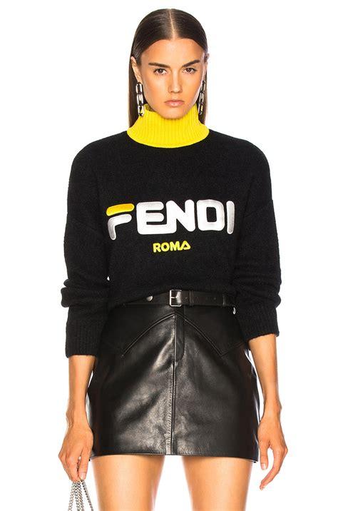 Fendi Fendi Mania Logo Oversized Sweater in Black | FWRD