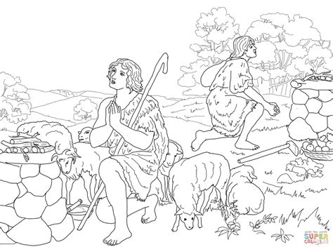 Kain En Abel Kleurplaat by Cain And Abel Coloring Pages Kidsuki
