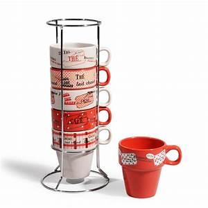 Support Tasse à Café : 6 tasses support en fa ence rouges brasserie maisons du monde ~ Teatrodelosmanantiales.com Idées de Décoration