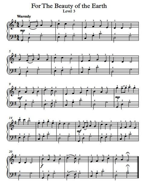 free piano arrangement sheet music for the of the world level 3 music pinterest