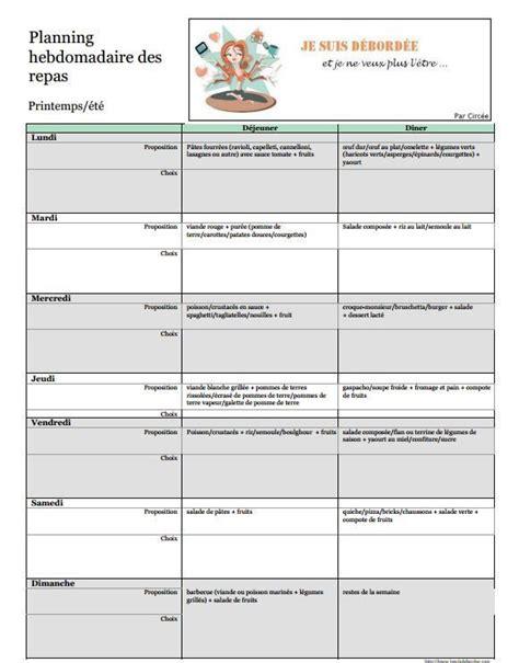 menu semaine cuisine az 17 meilleures idées à propos de planification hebdomadaire