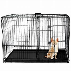 48quot dog cage crate folding kennel with divider pet puppy With 48 dog crate with divider