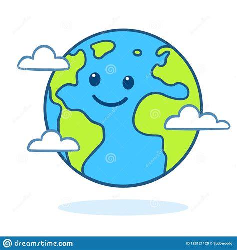cute cartoon earth stock vector illustration