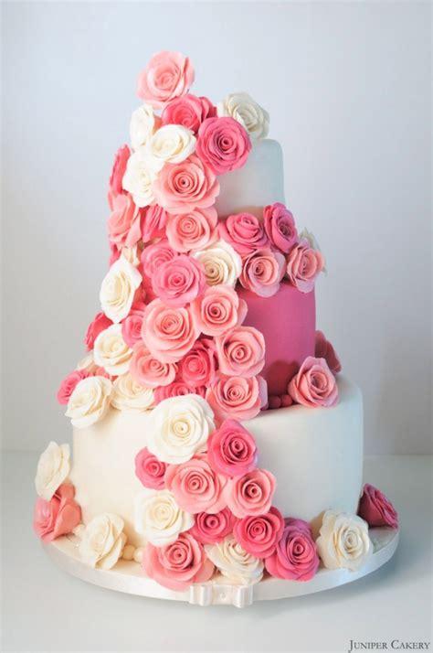 Pink Rose Festooned Wedding Cake