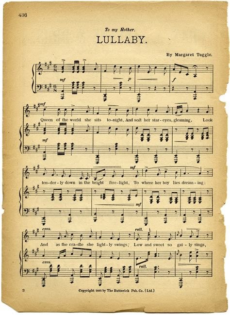 Learn piano with the help our free tutorials and piano letters' notes. Free Vintage Images Lullaby Sheet Music | Old Design Shop Blog