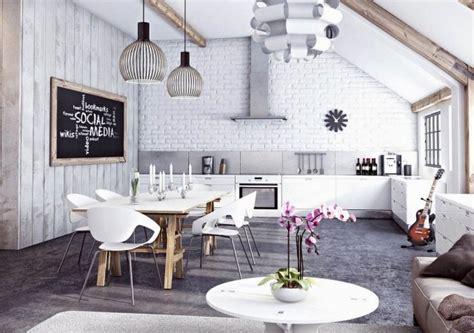 Table Ronde Industrielle Und Canapé Annecy Pour Deco Papier Peint Brique Pour Un Salon De Style Industriel