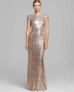 Lyst badgley mischka gown cowlneck back cap sleeve for Sequined wedding dress