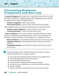 Correcting Sentence Fragments And Runons Worksheet For 4th  5th Grade  Lesson Planet