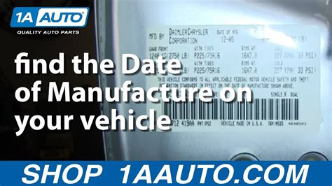 Where Is A Car by How And Where To Find The Date Of Manufacture On Your