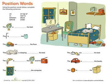 position words  kindergarten worksheets positional