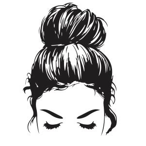 Messy bun hair with long black eyelashes, black brows, hair bow and bandana (leopard print and golden glitter) handwritten lettering quote: Messy Bun SVG file | hair bun svg cut file Download | JPG ...