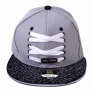 Adjustable Baseball Two Tone Flat Peak Hat Shoe Lace Cap ...