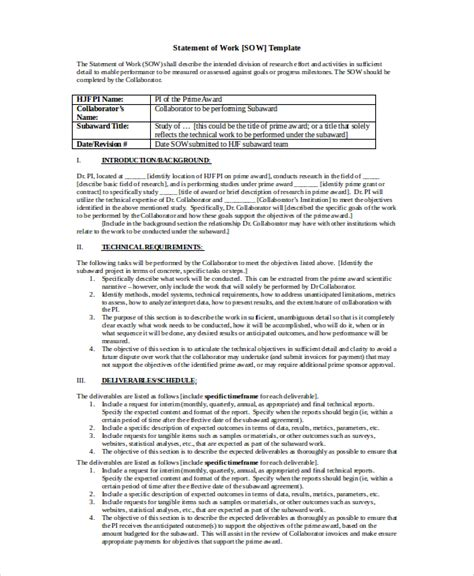 statement  work template    word excel