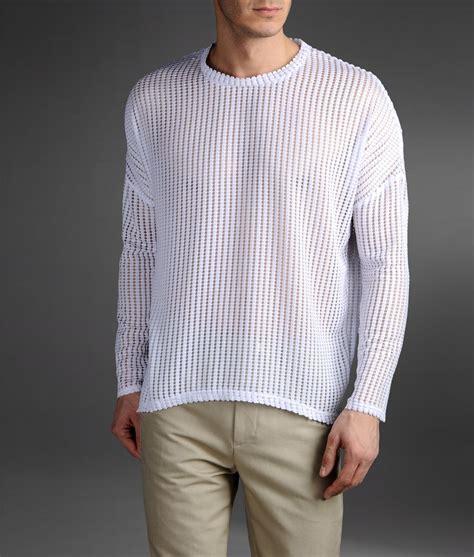 mesh sweater emporio armani origami effect mesh sweater in white for