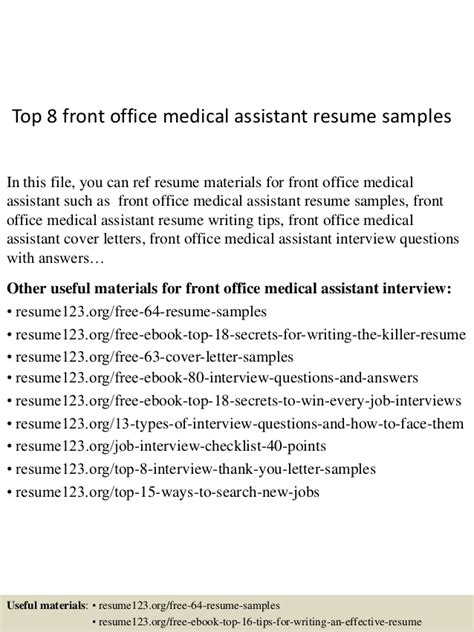 top 8 front office assistant resume sles
