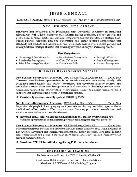 business development executive resume sle free