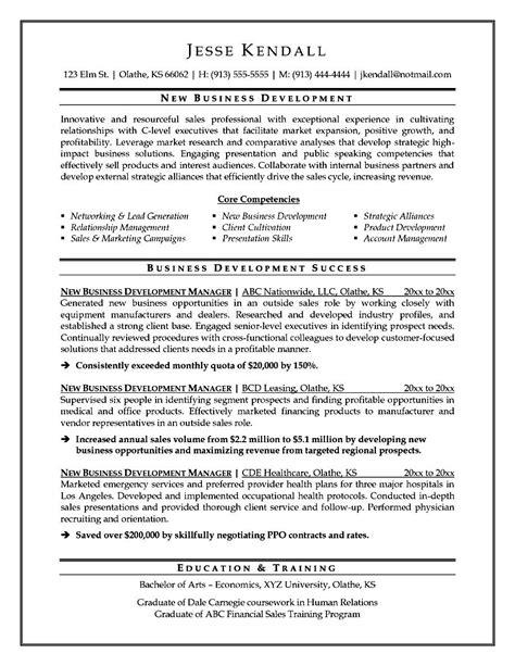 Business Development Executive Resume Sample Free