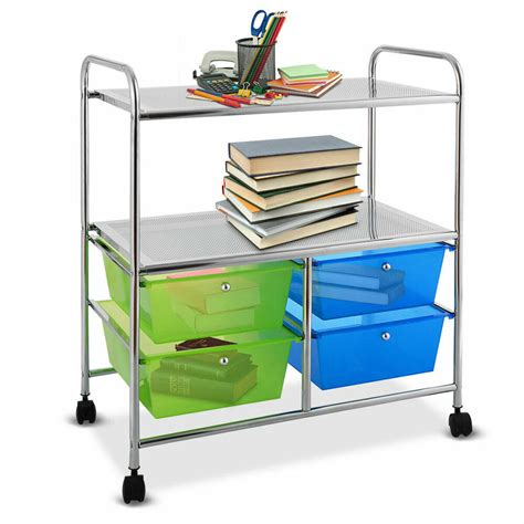 4 Drawers Rolling Storage Cart Metal Rack Shelf Home
