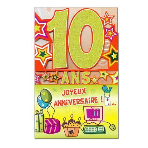 Carte d'invitation pour un anniversaire de 10 ans (âge inscrit sur la carte) à imprimer gratuitement sur une feuille pliable en 2. Carte Anniversaire 10 ans Vert découp'âge - Une carte pour toi