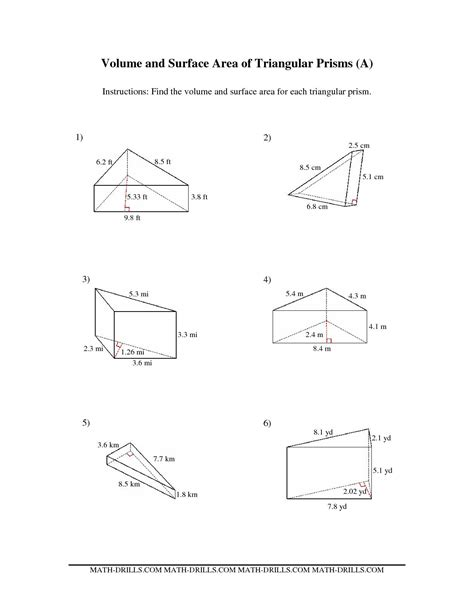 The Volume And Surface Area Of Triangular Prisms (a) Math Worksheet From The Measurement