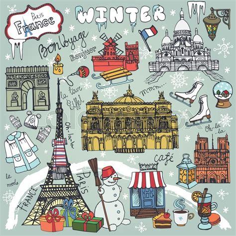 paris winter holidaylandmarklettering setmapvintage