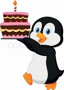 Vector illustration of Cute penguin cartoon holding