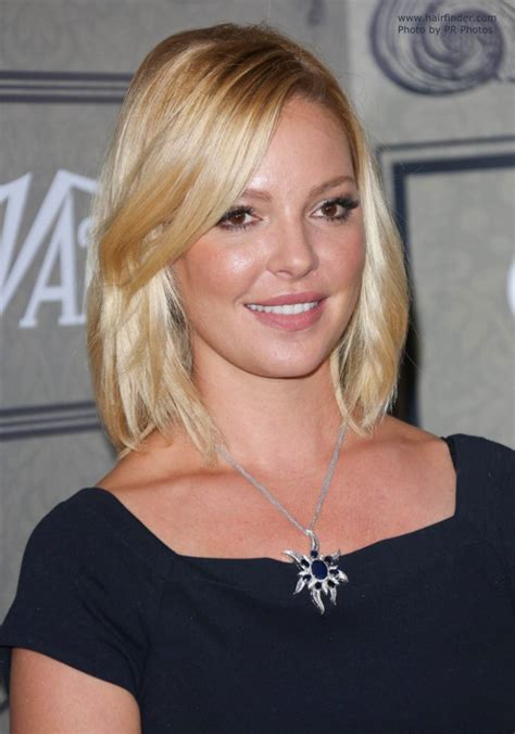 katherine heigl neck length hairstyle with a side part