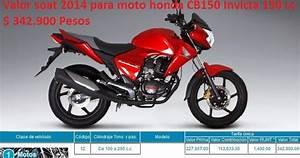 Valor Soat 2014 Para Moto Honda Cb150 Invicta 150 Cc