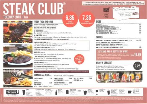 Chicken Club Menu - Available until 11pm on Wednesdays ...